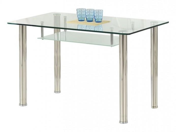 Masa din sticla si metal Olivier Transparent / Chrome, L119xl69xH75 cm
