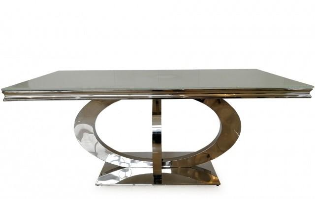 Masa din sticla si metal Orion White, L220xl100xH75 cm