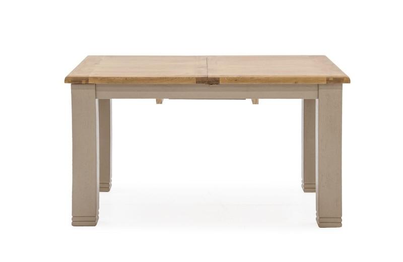 Masa extensibila din lemn de stejar si furnir Logan Taupe, L140-180xl90xH79 cm