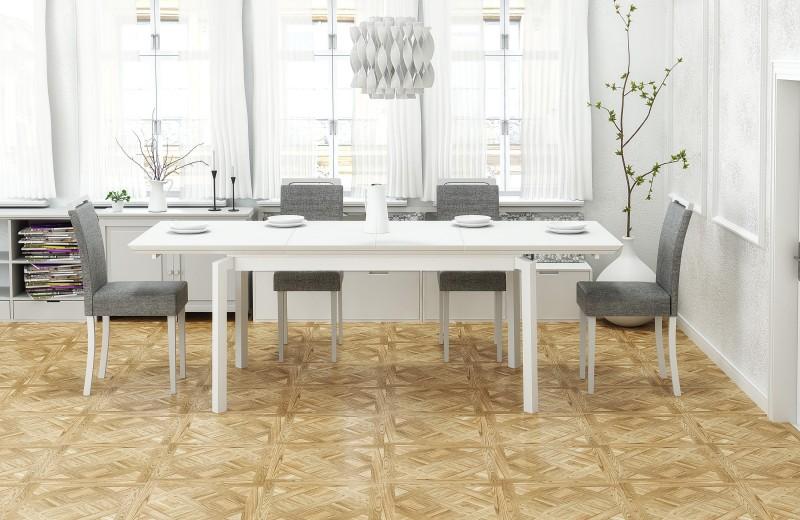Set masa extensibila din MDF, furnir si lemn Rois Alb + 4 scaune tapitate cu stofa Clarion Gri / Alb, L160-250xl90xH78 cm
