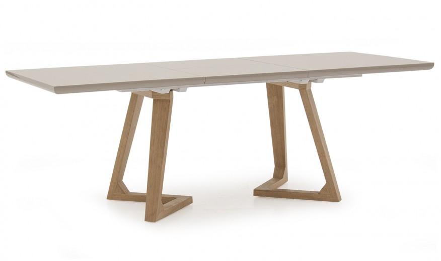 Masa extensibila din MDF si lemn de stejar Jenoah Grey / Oak, L160-220xl90xH76 cm