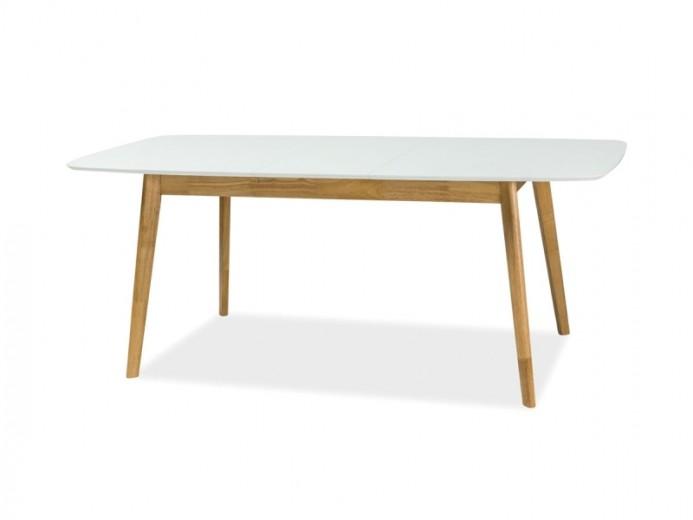Masa extensibila din MDF si lemn Felicio II Alb / Stejar, L150-190xl90xH75 cm