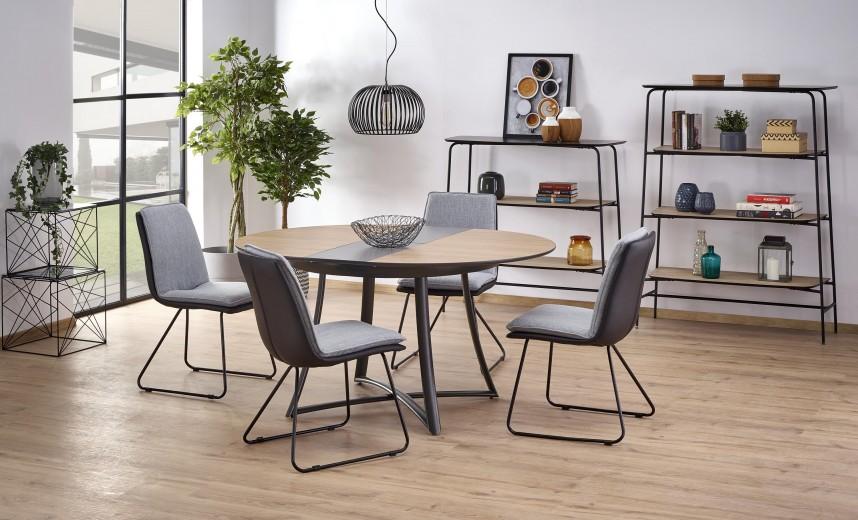 Set masa extensibila din MDF si metal Moretti Stejar / Negru + 4 scaune K326 Gri, Ø118-148xH76 cm