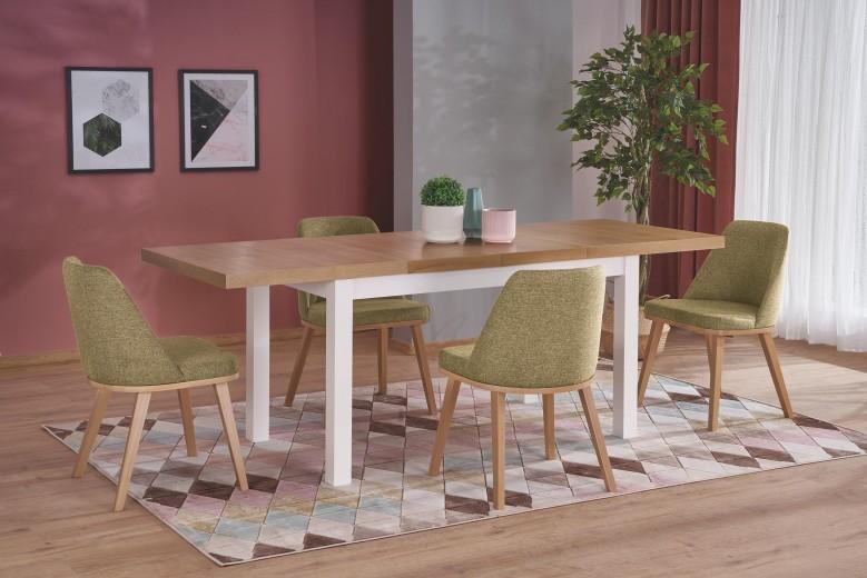 Set masa extensibila din pal si MDF Tiago 2 Stejar / Alb + 4 scaune tapitate Pueblo Verde Olive / Stejar, L140-220xl80xH76 cm