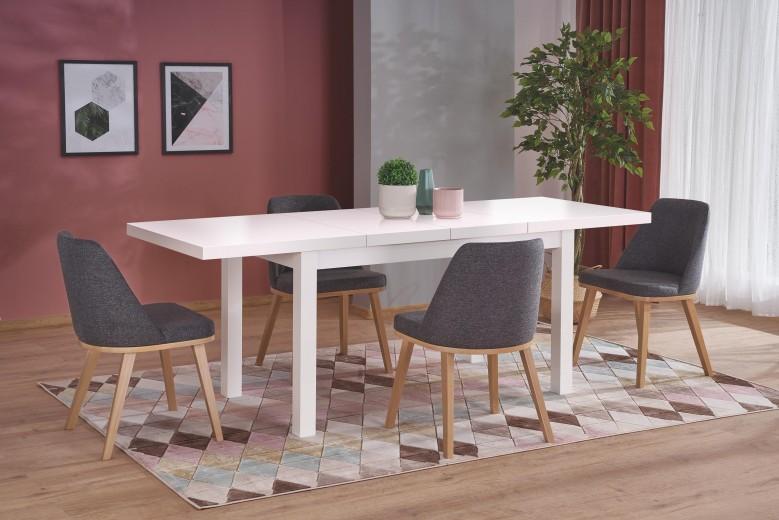 Set masa extensibila din pal si MDF Tiago 2 Alb + 4 scaune tapitate Pueblo Gri inchis / Stejar, L140-220xl80xH76 cm
