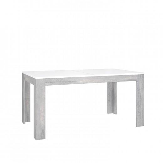 Masa extensibila din pal, Torrin Stejar Ice Grey / Alb, L160-215xl90,2xH78,2 cm