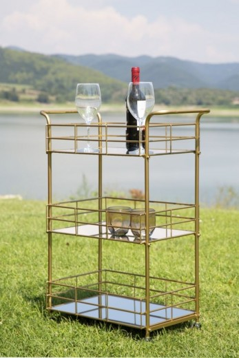 Masa minibar mobila din metal si sticla Glam Rett Auriu, L60xl30,5xH80 cm