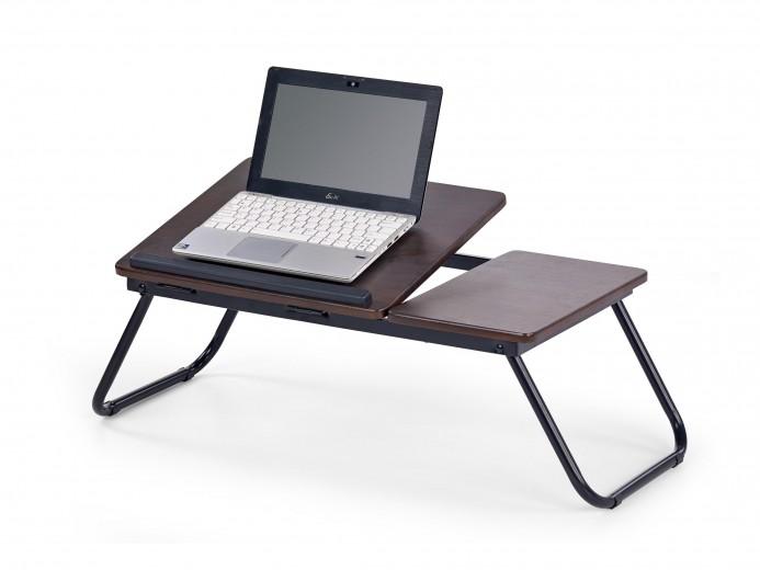 Masa pentru laptop din MDF si metal B-19 Dark Walnut, L60xl34xH23 cm