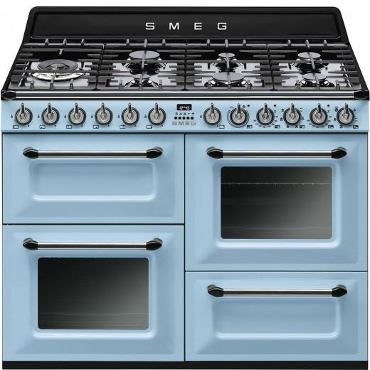 Masina de gatit cu 3 cuptoare TR4110AZ, Albastru pastel, 110x60 cm, Victoria, SMEG