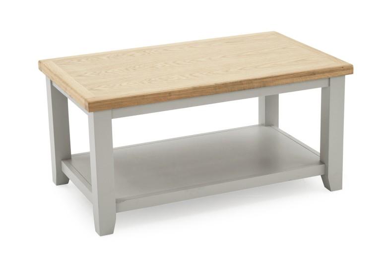 Masa de cafea din lemn de pin si MDF Ferndale Grey / Oak, L95xl58xh45 cm