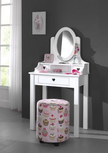 Masuta de toaleta din lemn de pin si MDF, cu oglinda si 3 sertare, pentru fete Amori Alb, L70xl40xH136 cm