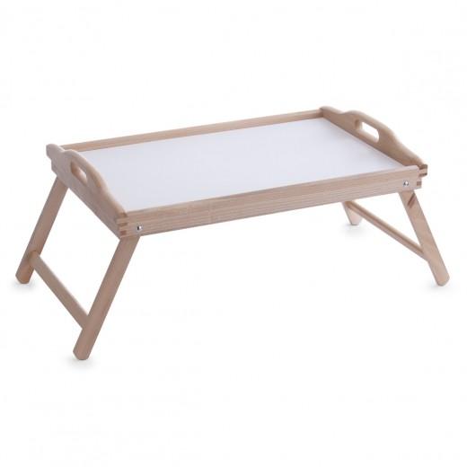 Masuta pliabila servire pat, Natural, din lemn de fag, L56xl36xH27 cm