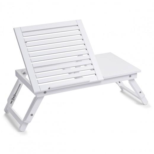 Masuta reglabila pentru servire pat, cu suport de carte, MDF White, L56xl35xH20/27 cm