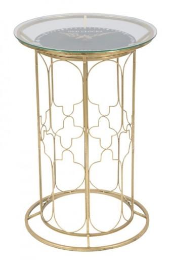 Masuta suport telefon cu ceas, din metal si sticla Balcony Gold, Ø42,5xH62,5 cm