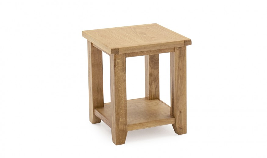 Masuta suport telefon din lemn de stejar si furnir Ramore Oak, L41xl41xH48 cm