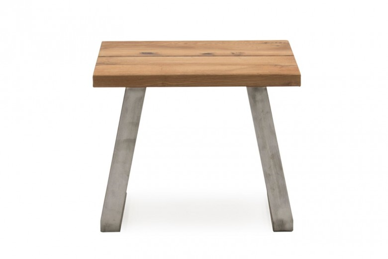 Masuta suport telefon din lemn de stejar si metal Trier Oak, L60xl60xH48,5 cm