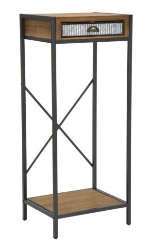 Masuta suport telefon din lemn si metal, cu 1 sertar Irish Tall Natural / Grafit, L50xl40xH121 cm