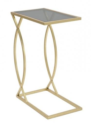 Masuta suport telefon din lemn si metal Divano Negru / Auriu, L45,5xl25,5xH60 cm