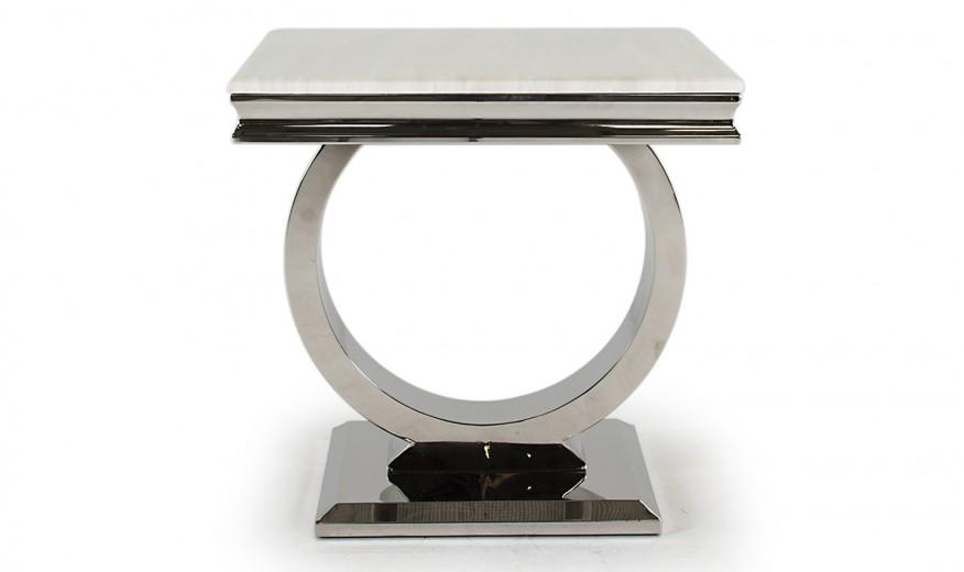 Masuta suport telefon din marmura si metal Arianna Cream, L60xl60xH49,5 cm