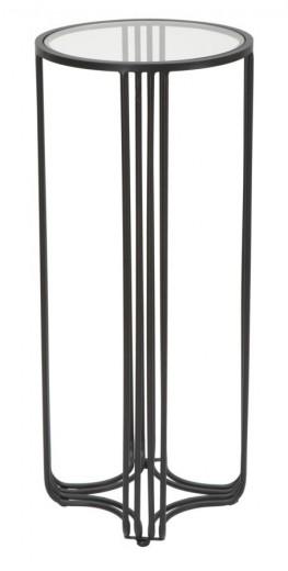 Masuta suport telefon din metal si sticla Dublino Negru, Ø35xH80 cm