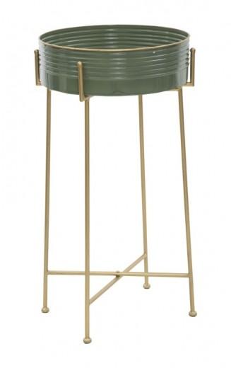 Masuta suport telefon din metal si sticla Glam Green, Ø 41xH72 cm