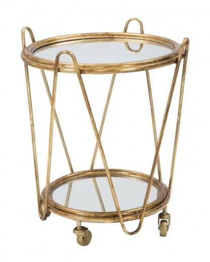 Masuta suport telefon din metal si sticla pe rotile Glam Trolley Gold, Ø52,5xH60 cm