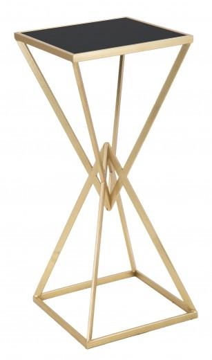 Masuta suport telefon din metal si sticla Piramid Tall Auriu / Negru, L35xl35xH80 cm