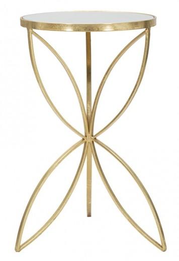 Masuta suport telefon din sticla si metal Butterfly Auriu, Ø35xH60 cm