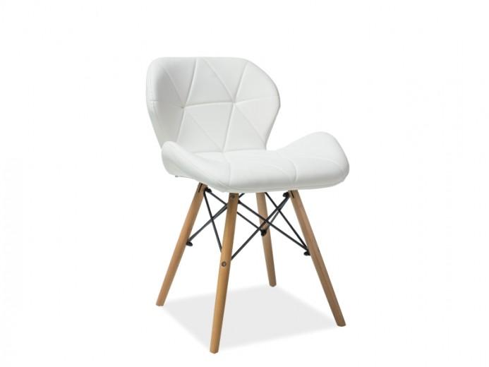 Scaun tapitat cu piele ecologica, cu picioare din lemn Matias White, l49xA37xH72 cm
