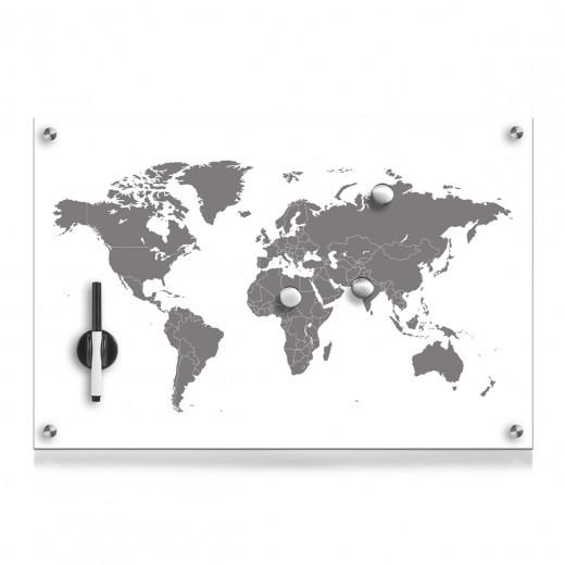 Memo Board din sticla cu 4 accesorii, Worldmap Alb, L60xl40 cm