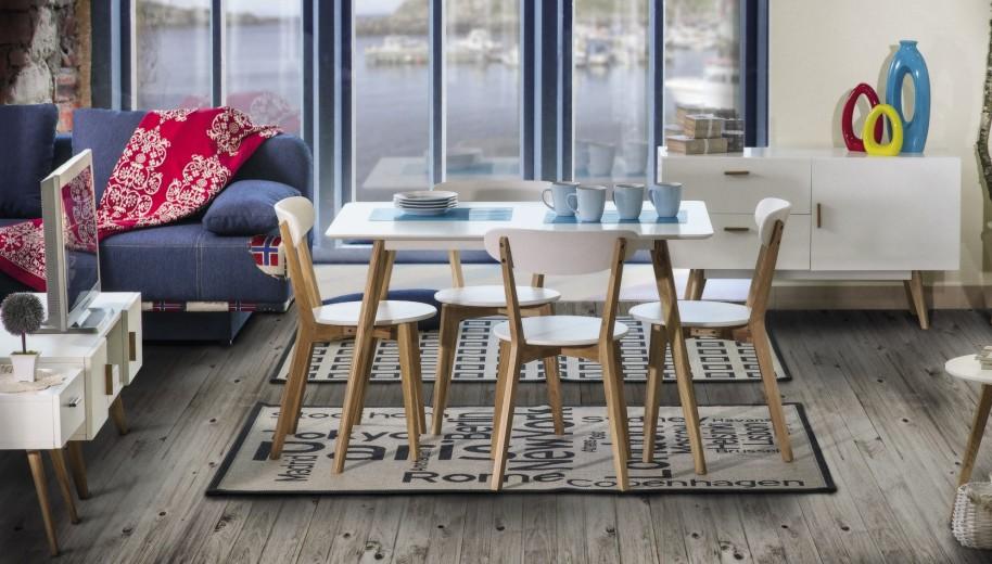 Set masa din MDF si lemn de stejar Milan 120White / Oak + 4 scaune Milan White / Oak, L120xl80xH75 cm