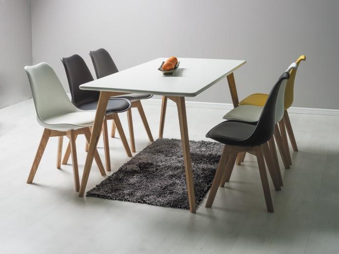 Set masa din MDF si lemn de stejar Milan 160 White / Oak + 6 scaune Kris, L160xl90xH75 cm