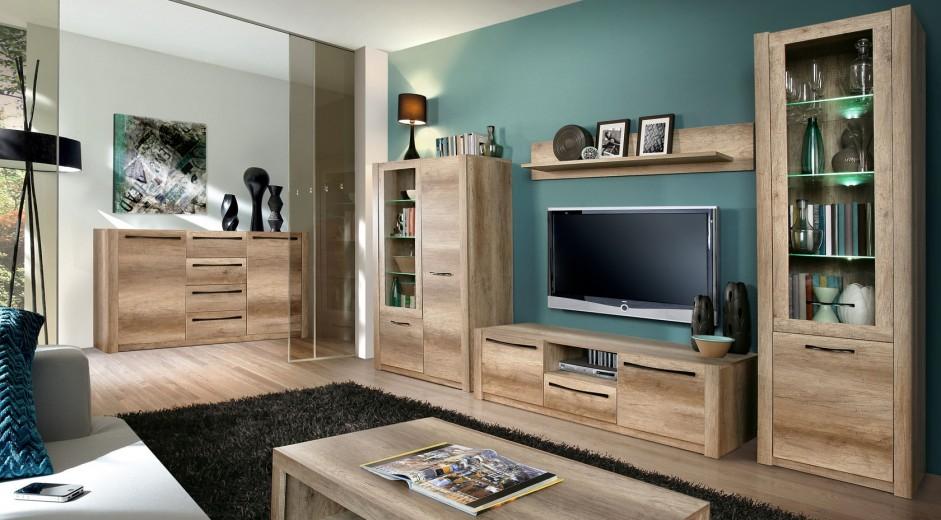 Set de mobila living din MDF, 6 piese Modix Oak