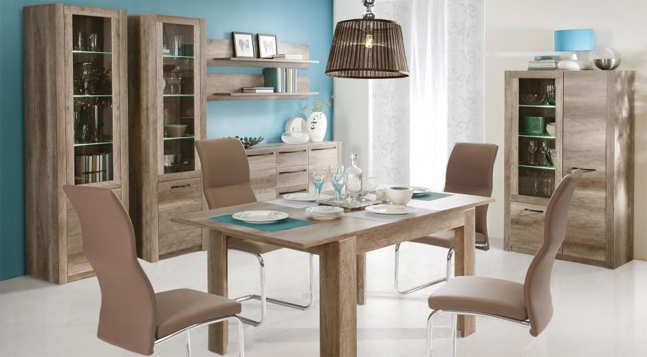 Set de mobila dining din MDF, 7 piese Modix Oak