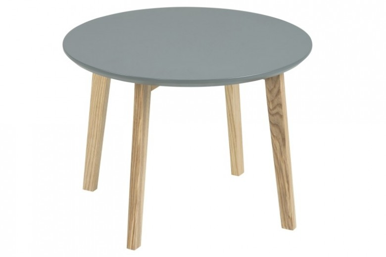 Masuta din MDF si lemn Molina Grey/Ash, Ø50xh36 cm