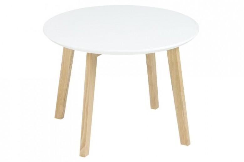 Masuta din MDF si lemn Molina White/Ash, Ø50xh36 cm