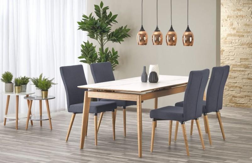 Set masa extensibila din lemn cu blat din ceramica Montreal White / Natural + 4 scaune K273 Dark Grey, L180-220xl90xH76 cm