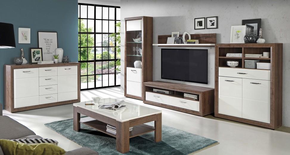 Set de mobila living din MDF, 6 piese Myria Oak / White