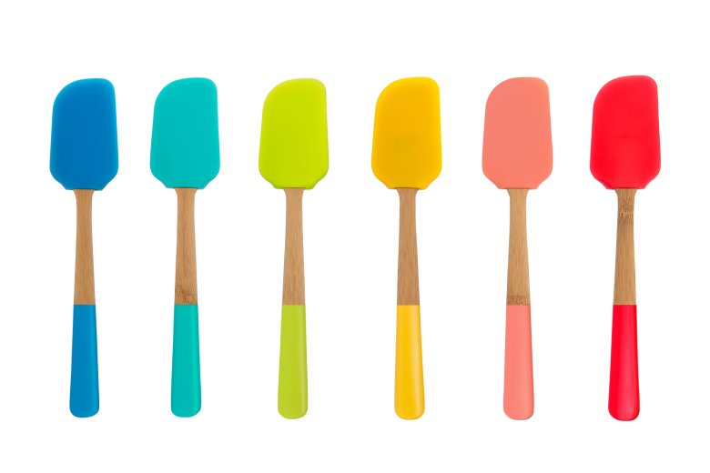 Set 18 spatule din silicon si bambus, Multicolor