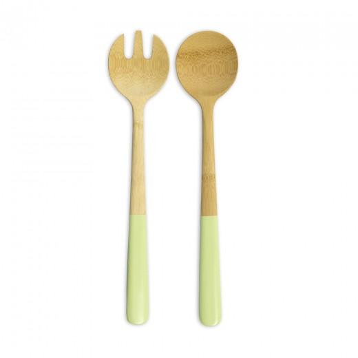 Ustensile servit salata, Bambus, Pistachio Green, NBA106