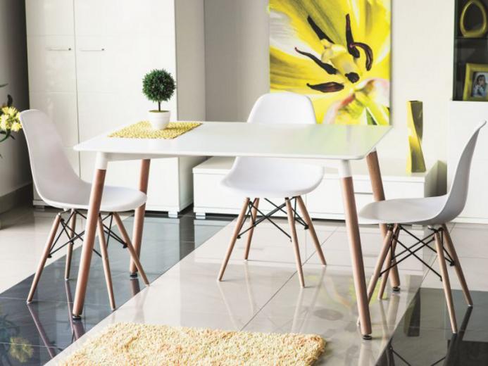 Set masa MDF si lemn Nolan White / Beech + 4 scaune Enzo White / Beech, L120xl80xH73 cm