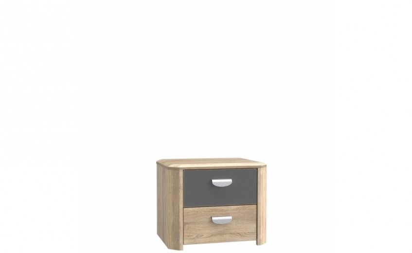 Noptiera din pal cu 2 sertare Yoper Stejar Sonoma / Gri, l53,5xA41,4xH44 cm