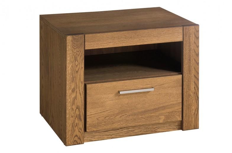 Noptiera din furnir si pal, cu 1 sertar Velvet 79 Stejar Rustic, l54xA42xH42 cm