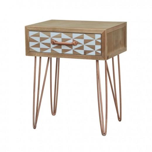 Noptiera din lemn de brad, Portofino F036, l30xA40xH50 cm