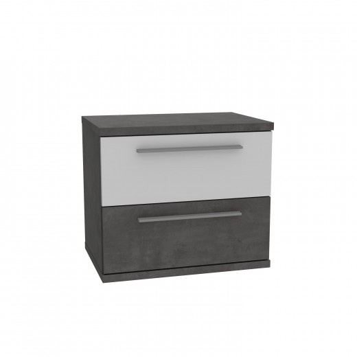 Noptiera din pal, cu 2 sertare Jelte Gri Inchis / Alb, l50,1xA34,7xH44,7 cm