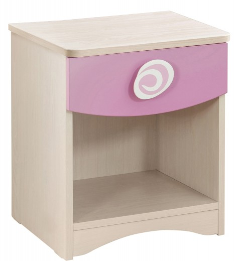 Noptiera din pal cu 1 sertar, pentru copii Little Princess Pink / Nature, l40xA41xH47 cm