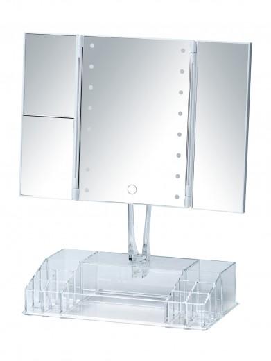 Oglinda cosmetica de masa, cu LED si organizator din plastic, Fanano Transparent, L34,5xl16,5xH39 cm