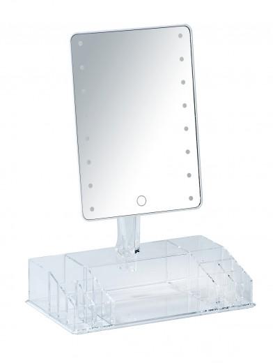 Oglinda cosmetica de masa, cu LED si organizator din plastic, Farnese Transparent, L27xl16xH36 cm