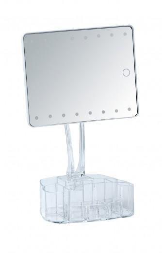 Oglinda cosmetica de masa, cu LED si organizator din plastic, Trenno Transparent, L17xl12,5xH36 cm