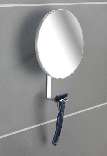 Oglinda cosmetica de perete, cu suport lama de ras, Turbo-Loc Crom, Ø17xA4xH23 cm